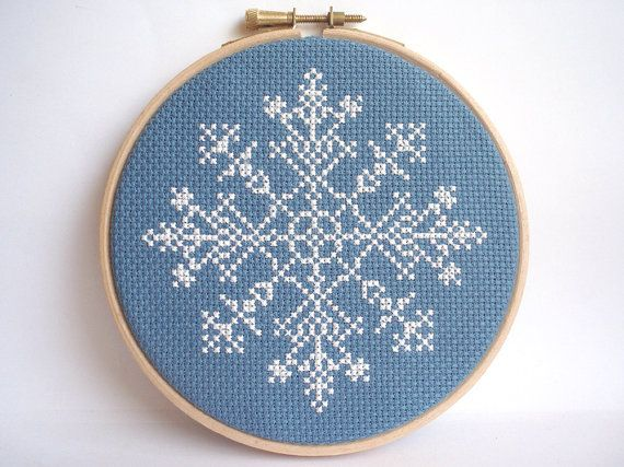 Embroidery Hoop Art Snowflake Cross Stitch Pattern (for my Frozen obsessed daughter)