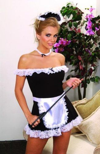 french maid costume sexy 4 pieces dress apron head amp neck