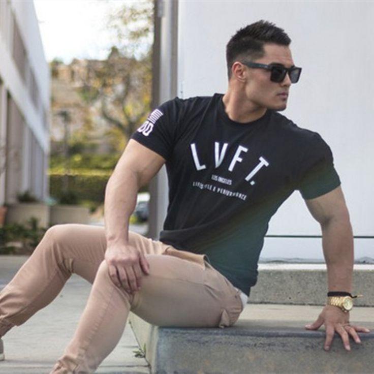 LiveFit Mode mannen t-shirt Mannen Crossfit Tops T-shirts Rise Nieuwe Bodybuilding Spier Brothers Katoen Mannelijke Fit camiseta Tees
