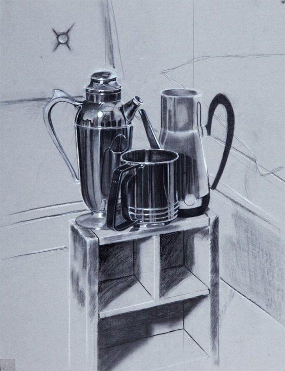 Fade to Metal 30X20 Original charcoal drawing by Karina Stanton #art