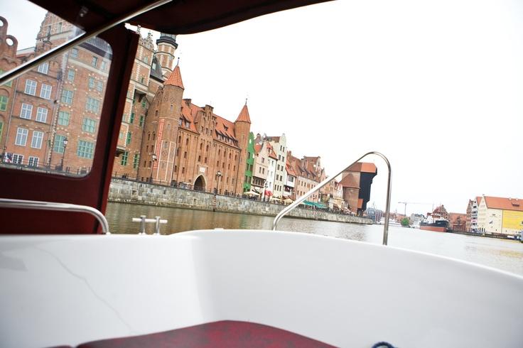 Gdansk seen from a boat on river Motlawa
