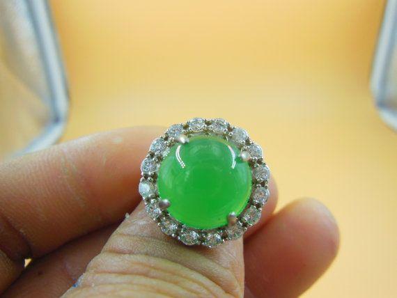 Natural con incrustaciones de anillo de plata mosaico 925 anillo jade verde (anillo puede ajustar el tamaño)