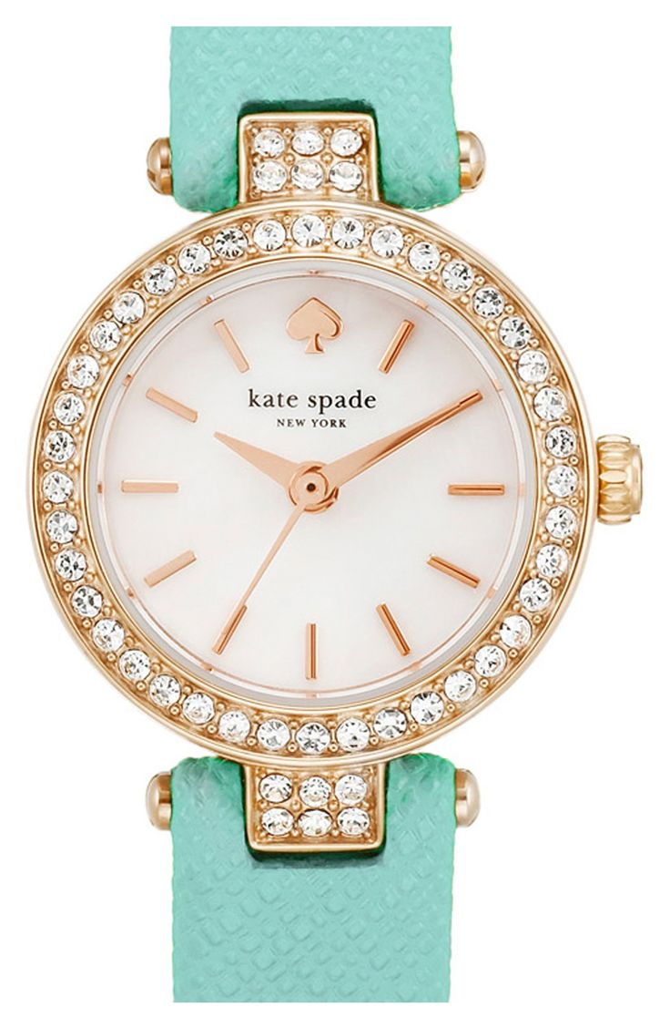 Saying yes to this sparkling rose gold and mint Kate Spade watch!