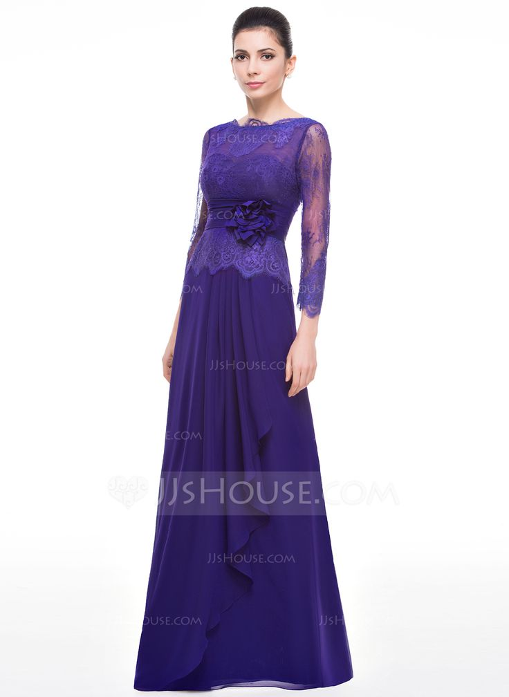 A-Line/Princess Scoop Neck Floor-Length Flower(s) Cascading Ruffles Zipper Up Sleeves 3/4 Sleeves No 2015 Regency Spring Summer Fall General Plus Chiffon Lace Mother of the Bride Dress