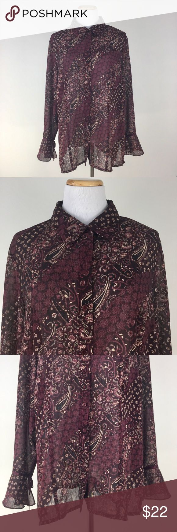 "Floral & Paisley Bell Sleeves Sheer Shirt XXL/1X This is a size XXL/1X long bell sleeves floral & paisley pattern front button down shirt. Sheer. Merlot (Brownish purple red) color. Loose Fit. Pre-owned. Great shape and in excellent condition. Gently used. Clothing brand/size/material labels are all cut off. Please check measurements to ensure a good fit. Material: Label is missing Shoulder to Shoulder: 17"" Bust (Pit to Pit): 24.5"" Sleeve Length: 25"" Garment Length: 29.5"" No  Tops Button…"