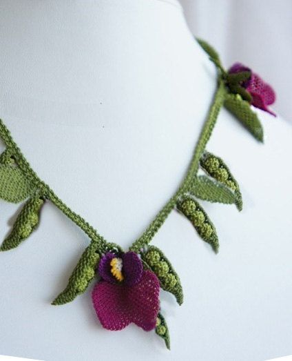 Needle Crochet Green Peas and Flowers Vegetable by needlecrochet