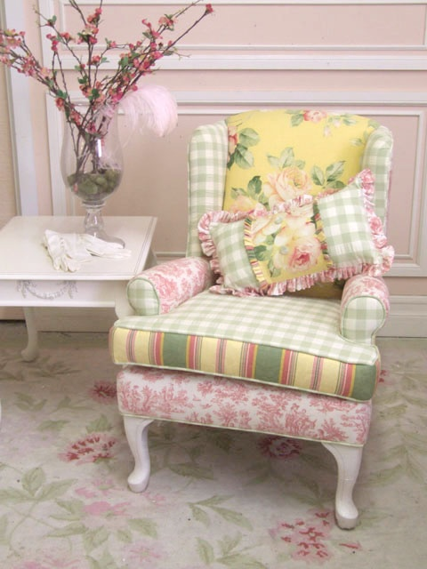 what fun to upholster an old chair this way!Clever Upholstery, Upholstered Chairs, Upholstered Yellow Chairs, Pink, Cottages, Furniture, Old Chairs, Wingback Chairs, Shabby Chic Yellow