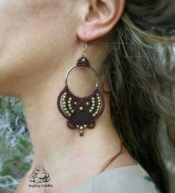 Hoop earrings, macrame earrings, boho earrings, hippie jewelry, gypsy jewelry…