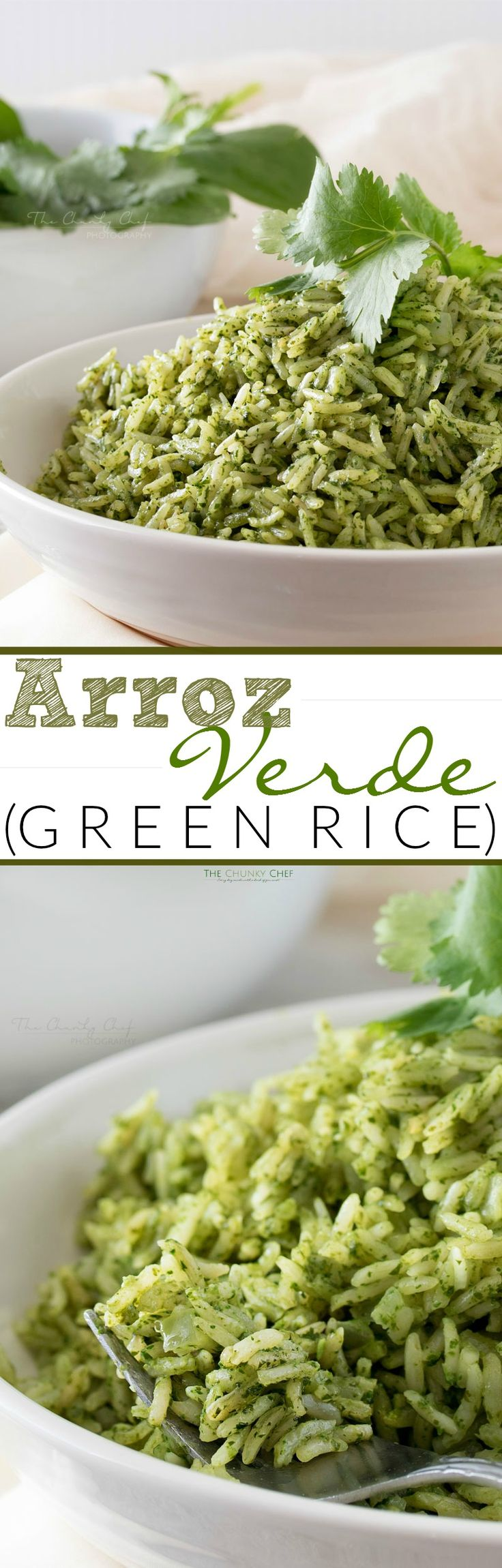 Arroz Verde Green Rice | This green rice, or arroz verde, is so rich and full of flavor... not to mention the vibrant green color! You can pair this rice with any main dish! | http://thechunkychef.com