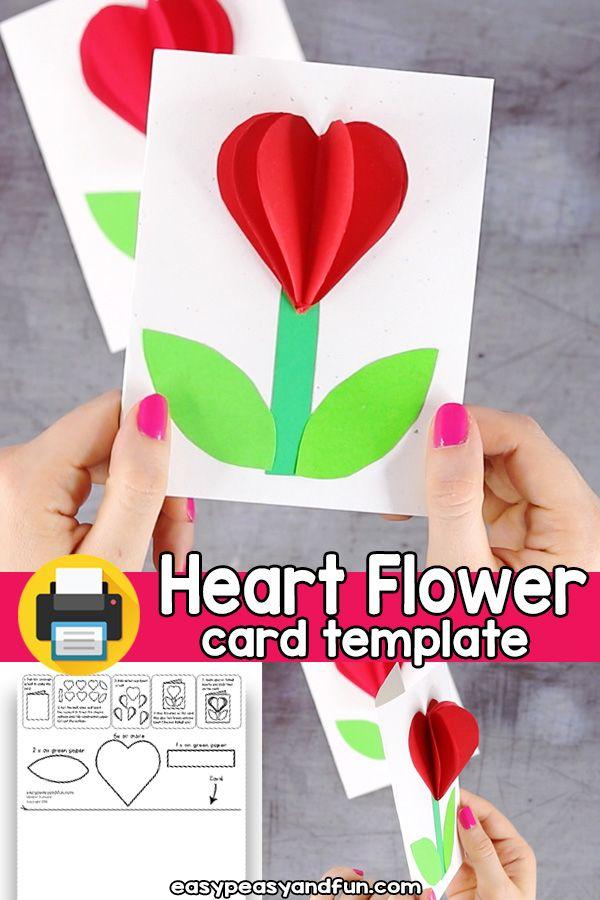 3d Heart Flower Card Template Diy Mother S Day Crafts Mothers Day Crafts For Kids Mothers Day Crafts