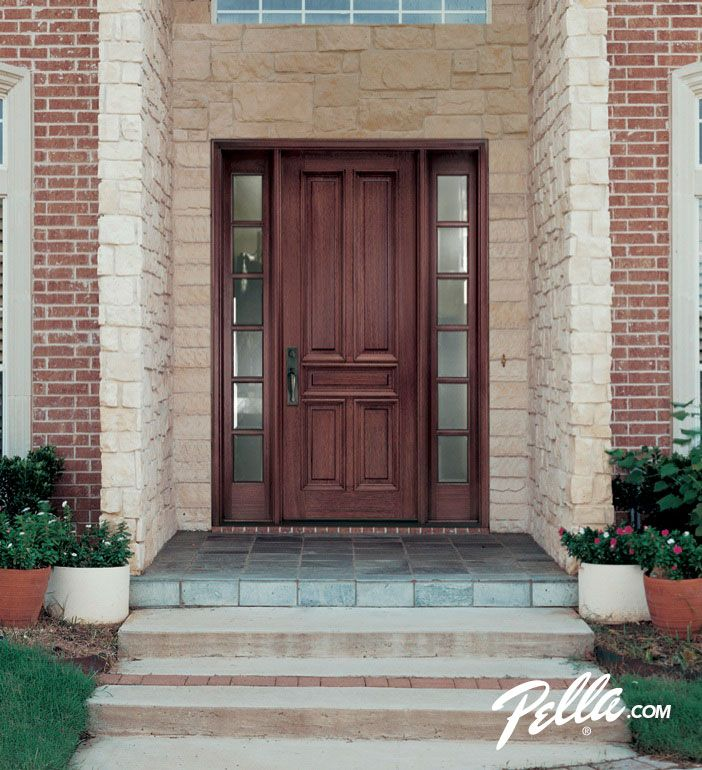 Enjoy walking up to your home s entrance with a pella wood for Wooden house front doors