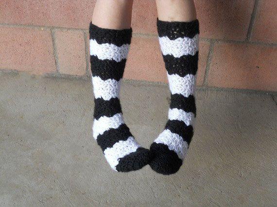 Black and white stripe crochet slipper socks by ValkinThreads, $19.00