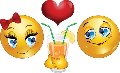 This smiley pair is sharing an orange drink and falling ever deeper in love.