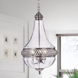 Permin Empire 13-inch Clear Glass and Metal Pendant Light - Free Shipping Today - Overstock.com - 20888792 - Mobile