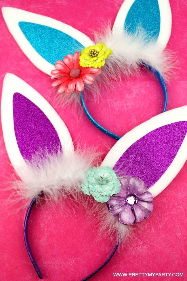 DIY Bunny Ears Headband on Pretty My Party #diybunnyears #eastercrafts