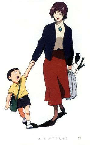 little Shinji & her mom Yui Ikari walking together w/ happiness