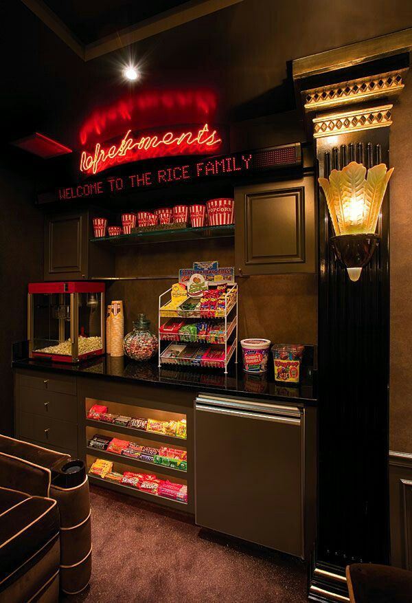 Snack area for the home theatre. This would be a dream. Get for sleepovers or parties or just me hanging out.