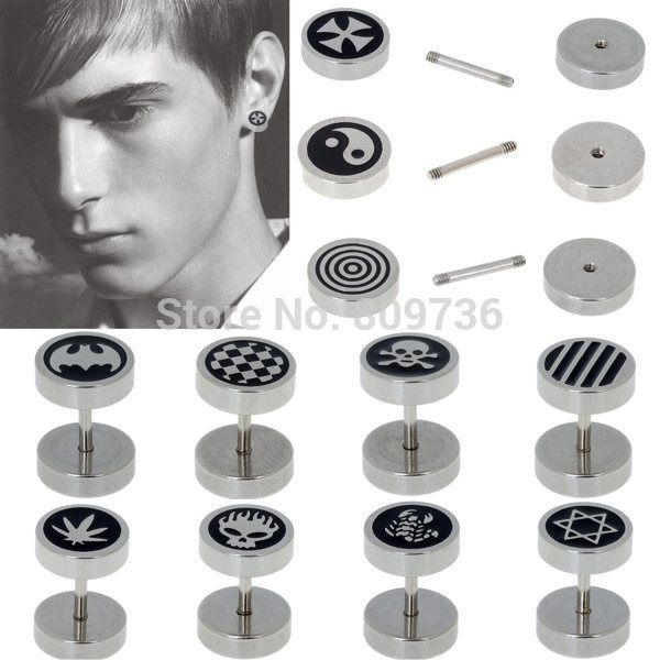 2pcs Hot Punk Gothic Jewelry Stainless Steel Round Plain Men's Ear Stud Barbell Earrings Fake Ear Stretcher Plug Free Ship