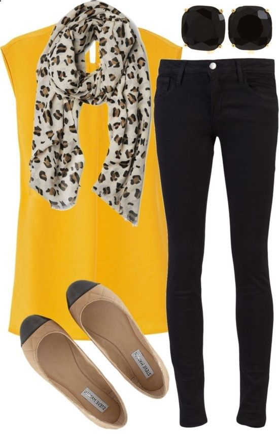 Casual Outfit: Bright yellow top, dark skinny jeans, nude flats, printed scarf and sunglasses!