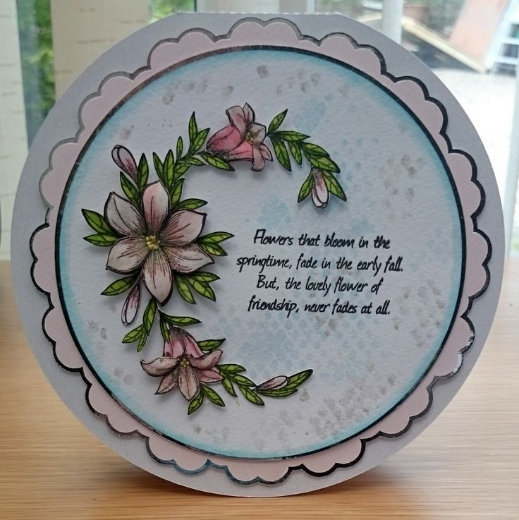 Card made using Honey Doo Crafts Stamps.  Perfect for placing on a round card.