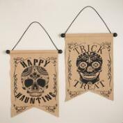 Burlap Los Muertos Skull Wall Decor, Set of 2