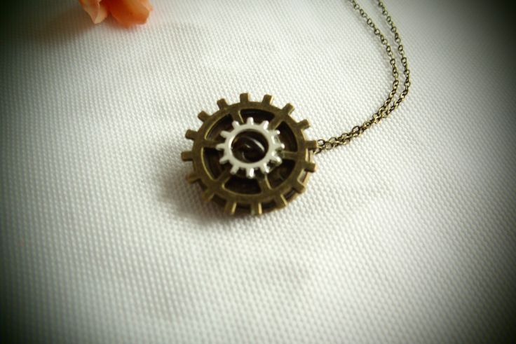HANDMADE STEAMPUNK NECKLACE with nautical wheel from brass wheels, gears, pretty understated, alternative pendant perfect Christmas gift! by AndroidsandApes on Etsy