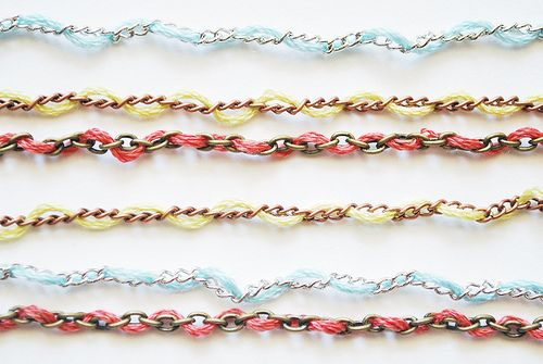 DIY Layered color chain necklaces or bracelets. Really easy!