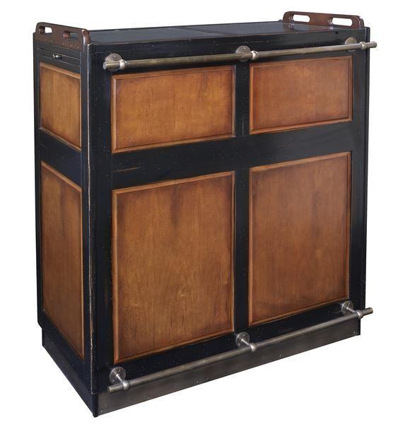 Authentic Models Casablanca Bar on Wheels; Black/Distressed Honey MF047B - The Elegant Bar - 1