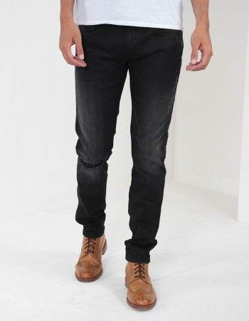 Replay Hyperflex Rip & Repair Jeans Black Rinse