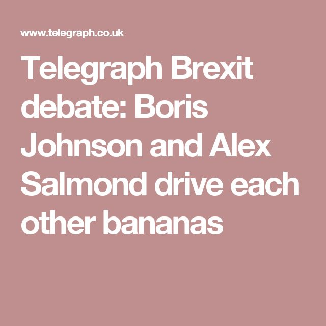Telegraph Brexit debate: Boris Johnson and Alex Salmond drive each other bananas