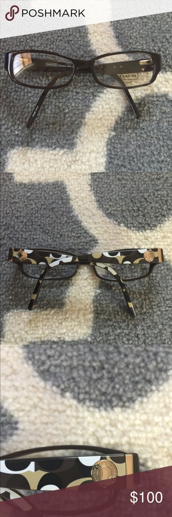 👓 New coach frames *never worn* 👓 OFFERS?!? Brand new coach frames. Perfect condition. Original lenses with Coach logo still in- you will have to have your own prescription lenses put in. Frames retail for $200+ Coach Accessories Glasses