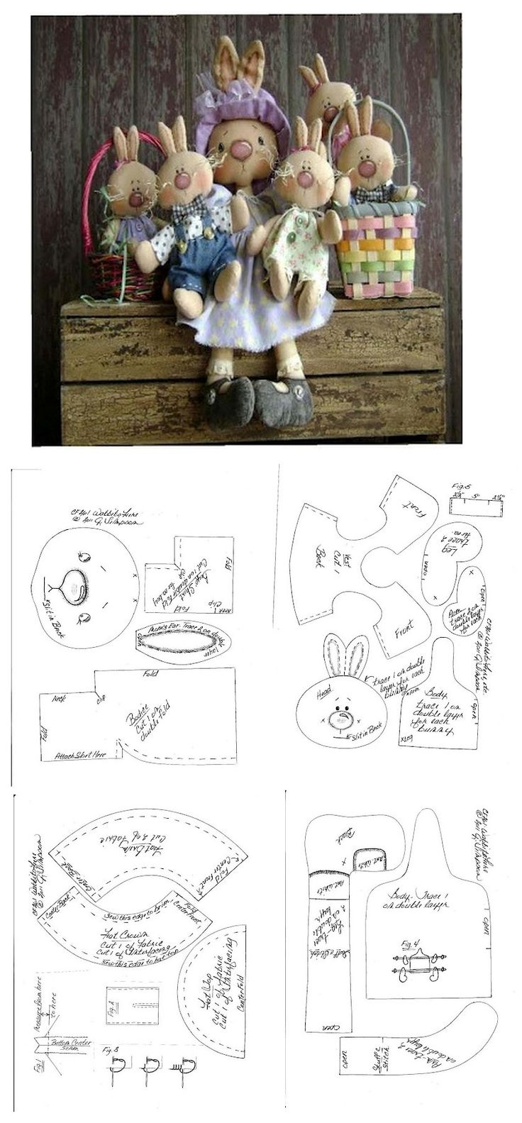 Stuffed Momma Bunny & her Lil Bunnies Pattern .. ..•♥°.... Nims.... °♥•