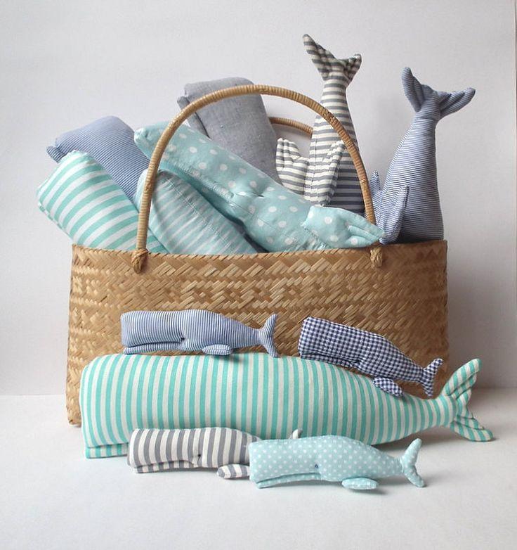 Nautical Nursery Whale toy stuffed whale grey by CherryGardenDolls