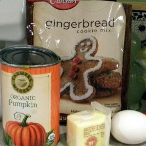 Gingerbread cookie mix with pumpkin. Yummy! I plan on making rounds instead of cutouts but great recipe with a shortcut!