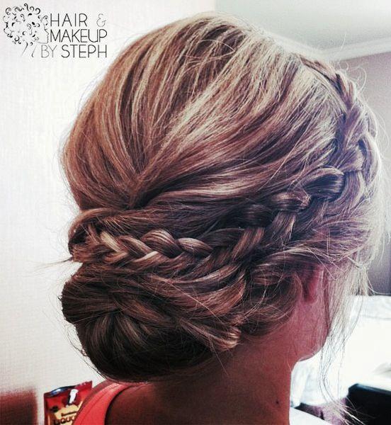Simplistic Casual but Elegant braided up do. stephs wedding