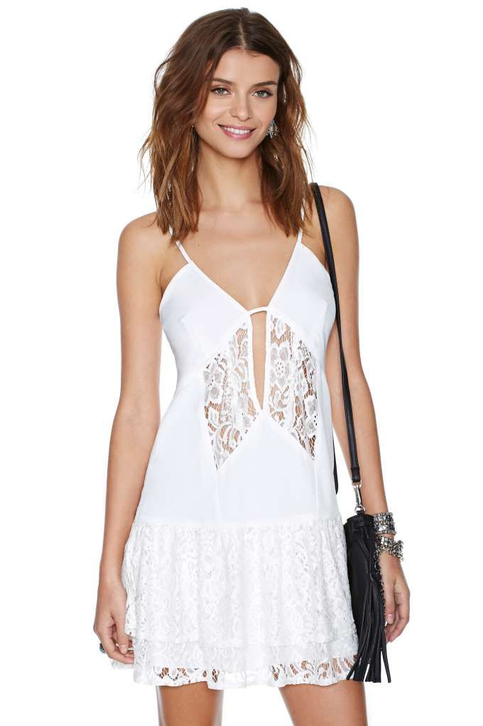 Nasty Gal Lace Off Dress