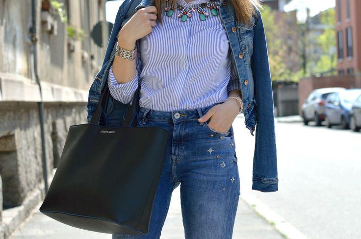 Armani Jeans Maxi Shopper Bag www.ellysa.it #bag #black #armani #ootd #denim