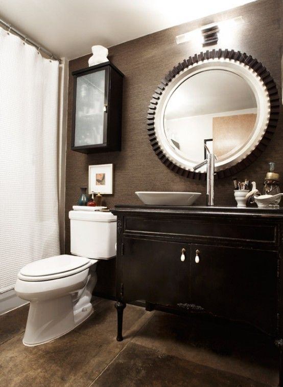 masculine bathrooms are usually dark black or gray strict minimalist and simple here are ideas for all of them