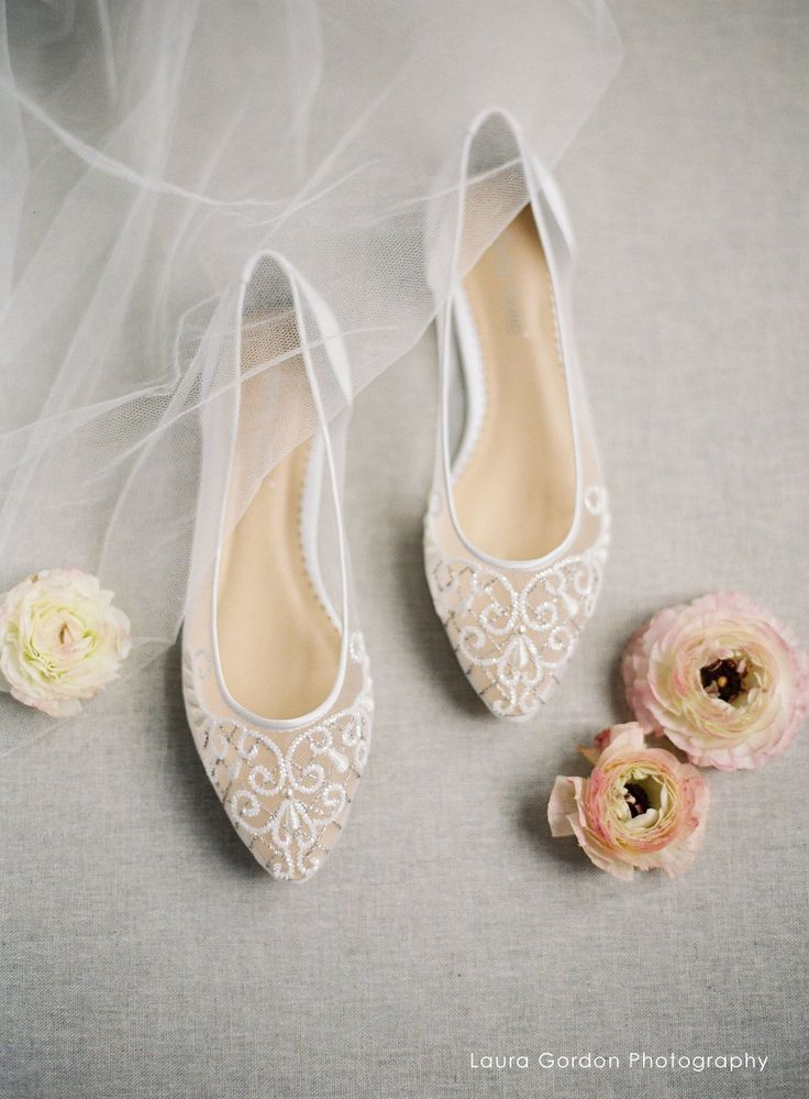 Ivory Wedding Flats with Silver Embroidery