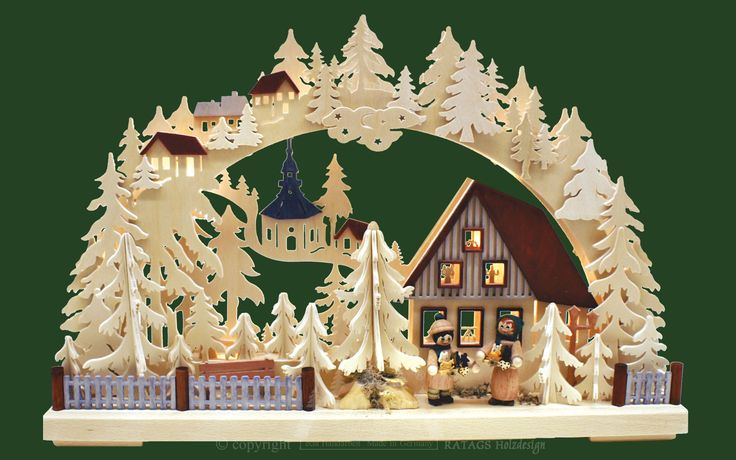 Ratags Holzdesign Schwibbog Children with Trees 110 V