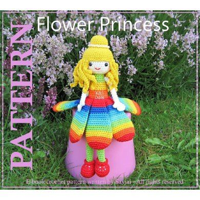 Crochet pattern to make the Flower Princess doll. Size: the Flower Princess is 10 inches / 25 cm tall. For materials you can use: 1) No 2 yarn (Sport, Baby). Catania yarn from Schachenmayr SMC. (dark blue, blue, jade, apple green, yellow, orange, red and cream). 2) 3.00 mm hook. 3) Polyester fiberfill. 4) One pair of 6 mm black safety eyes or other eyes as desired. 5) Tapestry needle. 6) 30 of 4mm white beads for decorate hair. 7) Pins.