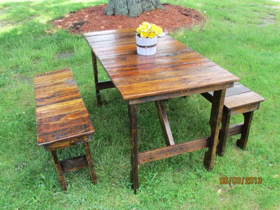Serene Village   3 Piece Indoor Or Outdoor Picnic Table And Benches,  Farmhouse Table,