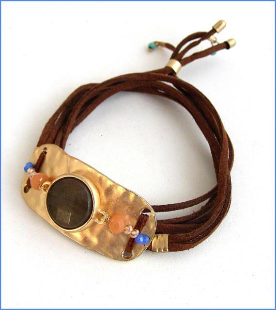 green agate crystal leather bracelet/wrap Bracelet à