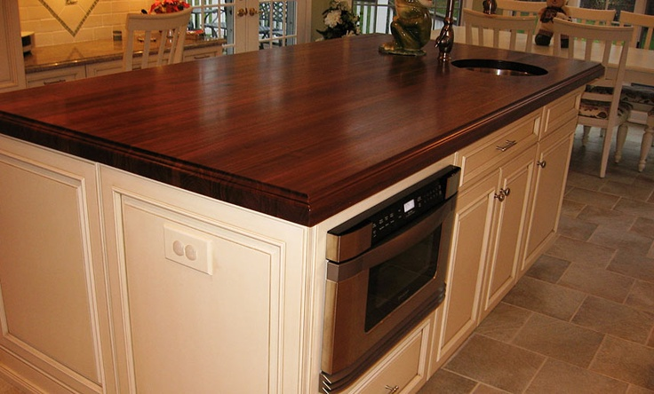 2 inch Walnut Wood Countertop in brown color with a Small