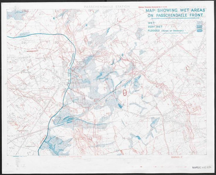 Today marks the centenary of Passchendaele. This map shows the vast waterlogged areas facing the front.  The poor weather and intense artillery bombardment made the terrain so fluid and incomprehensible that the strong blue line marking the front is only an approximation.  #Passchendaele100