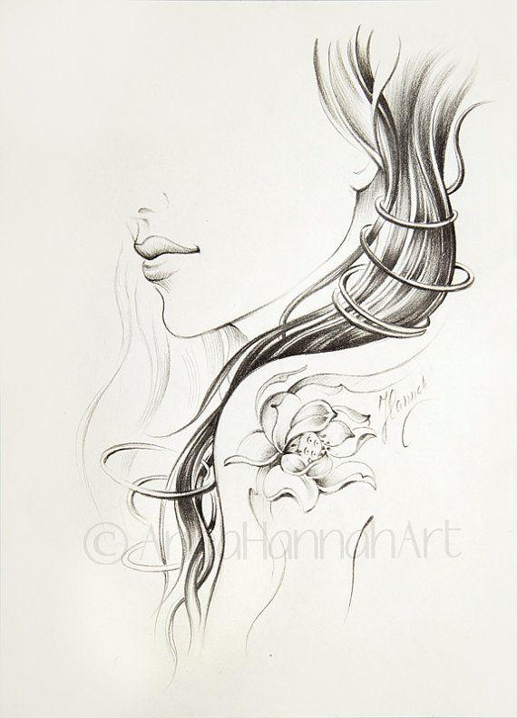 lotus flower tatoo magic beautiful woman long by AnnaHannahArt