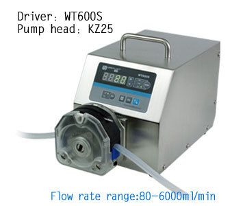 WT600S KZ25 High Flow rate Adjustable Peristaltic Pump Liquid Industrial Lab dosing Tubing Peristaltic Pump  80 to 6000ml/min