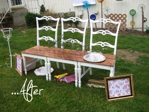 "DIY 3 Old Chairs...re-purposed into an awesome garden bench!!   This site also shows some of these ""benches"" upholstered...via Libby James.  Now why didn't I think of this?"