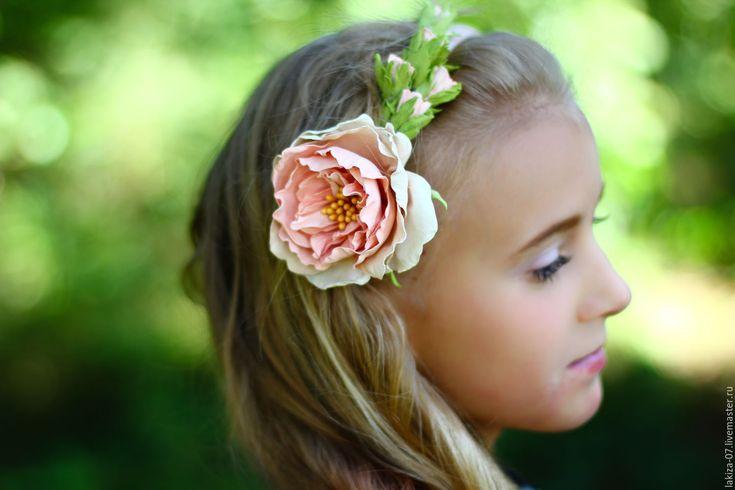 Купить Шебби розы из фоамирана на ободке - комбинированный, шебби цветочки, шебби стиль, шебби-шик