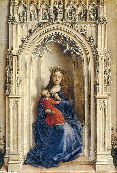 vierge à l'enfant, Huile sur panneau de Rogier Van Der Weyden (1400-1464, Belgium)